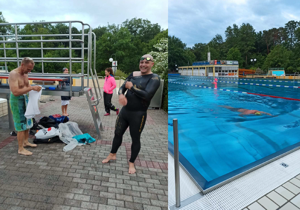 Schwimmtraining im Juni – es war kalt, aber schön.